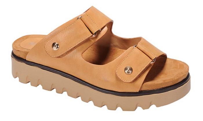 Mata Women's Adjustable Buckle Double Strap Platform Sandal (6.5)