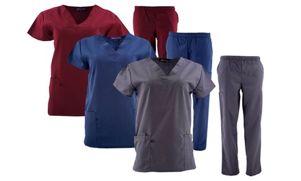 Green Town Women's Solid Medical Scrub Set. Plus Sizes Available.