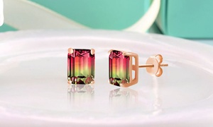 Emerald Cut Watermelon Crystal Stud Earrings in Sterling Silver