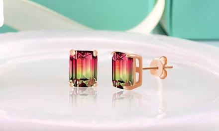 6.00 or 7.00 CTW Emerald Cut Watermelon Tourmaline Stud Earrings in Sterling Silver by Nina & Grace