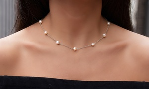 Genuine Freshwater Pearl Necklace in Sterling Silver by Gemma Luna