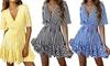 Women's V-Neck Striped Dress