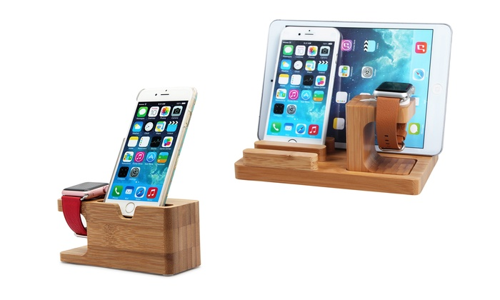 6cc616896 Bamboo Wood Charging Stand Cradle Holder for Apple Watch and iPhone