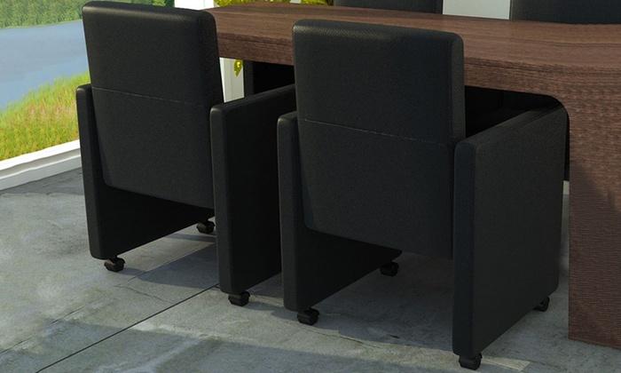 Stoel Op Wieltjes : 2 tot 6 stoelen met wieltjes groupon goods