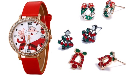 Santa Claus Watch with Option for One or Three Pairs of Earrings