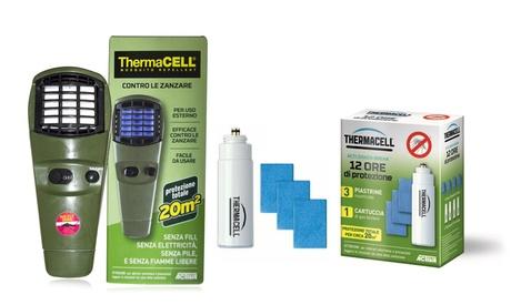 Set con repellente antizanzare Thermacell, piastrine e cartucce di gas butano