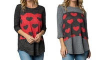 Women's Valentine's Day Heart Printed Tops