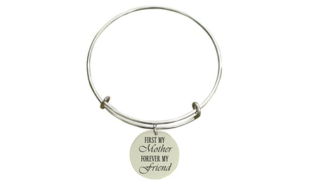 Pink Box Stainless Steel Mother Friend Charm Bangle Bracelet