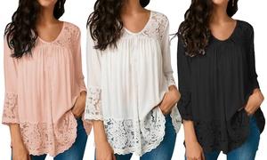 (Mode)  Blouse femme coton et dentelle -54% réduction