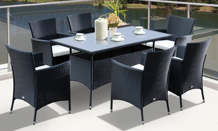 Outsunny Seven-Piece Rattan-Effect Dining Set from £369.99