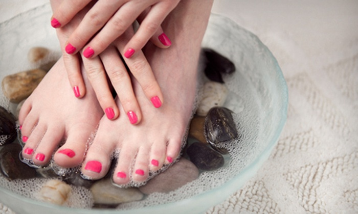 Amour Nails & Day Spa - West Arlington: $30 for a Mani-Pedi Package with a Foot Massage, Sugar Scrub, and Hot Stones at Amour Nails & Day Spa ($60 Value)