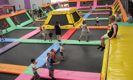 Jump Zone Revolution Entry + Drink: 1 Hr for 1 ($5) or 4 ($20), or 2 Hrs for 1 ($10), 2 ($20), 3 ($30) or 4 Ppl ($40)