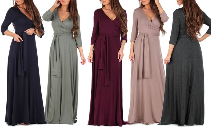 Up To 54% Off on Women\'s Faux Wrap Maxi Dress | Groupon Goods