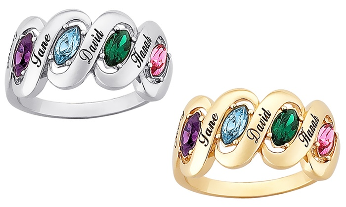 Limogès Jewelry: Silvertone or Goldtone Marquise Birthstone Ribbon Ring for Moms from Limogès Jewelry (Up to 58% Off)