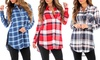 Women's Sheer Plaid Button-Down Tunic: Women's Sheer Plaid Button-Down Tunic