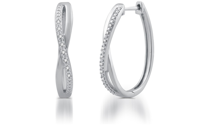 Genuine Diamond Accent Criss Cross Hoop Earrings In Solid Sterling Silver By Decarat