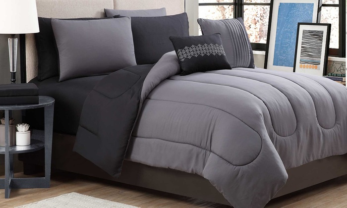 Reversible Lightweight Comforter Set With Sheets (9 Piece) ...