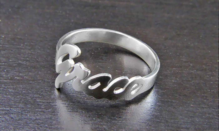 NameJewelrySpot: 77% Off Personalized Silver Name Ring from NameJewelrySpot