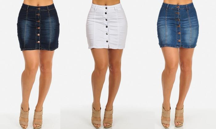 Juniors' Denim Button-Up Mini Skirts