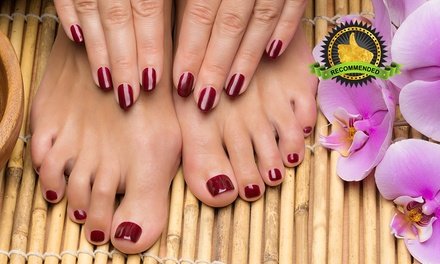 $25 for a Classic Mani-Pedi with Mint Foot Soak and Sea Salt Scrub at Dollhouse Nails (worth $63).More Options Available