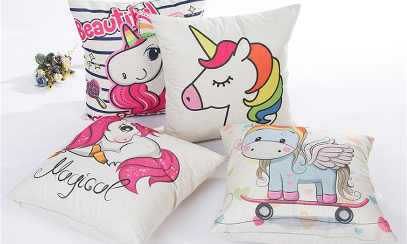 One, Two or Four Unicorn Pillow Cushion Covers