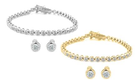Bezel-Set Cubic Zirconia Tennis Bracelet and Stud Earrings Set