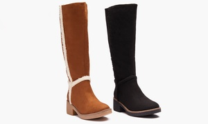 Sociology Women's Tall Shearling Trimmed Boots | Groupon Exclusive