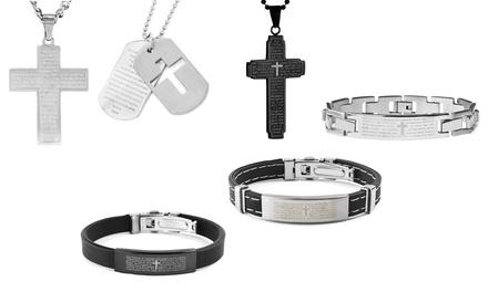 Men's Lord's Prayer Bracelet and Pendant Set in Stainless Steel