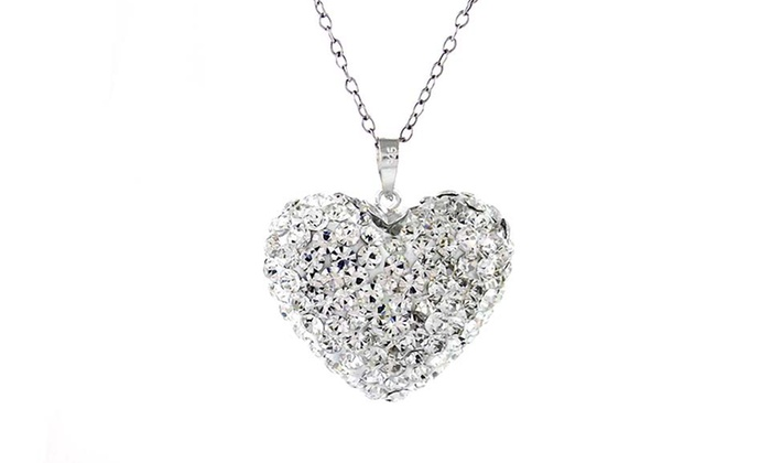 Bubble heart pendant in sterling silver made with swarovski elements bubble heart pendant in sterling silver made with swarovski elements aloadofball