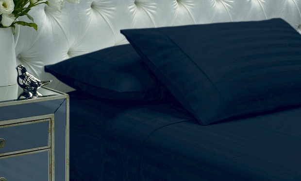 1200TC Damask Sheet Set with Two Ultra BouncePillows: Queen ($89) or King ($99)