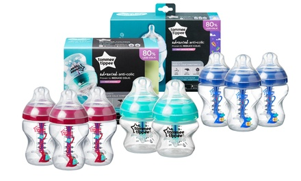 One or Three Tommee Tippee Anti-Colic Bottles in Choice of Capacity and Design