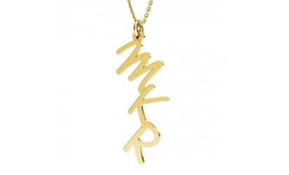 Sterling Silver Necklace with Personalized Initials and Optional Plating (Shipping Included)