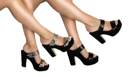 Womens Double-Strap Snake-Effect Mules