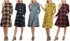 Riah Fashion Women's Plaid Swing Dress with Pockets