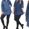 Denim Tunics and Button-Down Shirts. Plus Sizes Available.