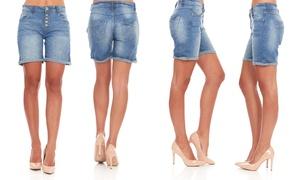 Women's Stretchy Blue Denim Bermuda Jeans Shorts