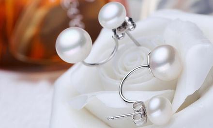 1 ou 3 paires de boucles d'oreilles Sophie en argent et perles de la marque VAN AMSTEL