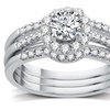 1.10 CTTW Certified Diamond Bridal Ring Set in 14K Gold By All My Love