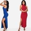 Sleeveless Turtleneck Maxi Dress With Side Slit