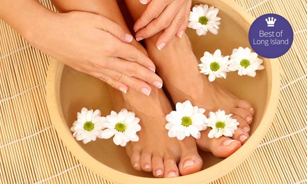 Mani-Pedi and Eyebrow Wax, 60-Minute Facial, or Eyelash Extensions at Angel Tips (Up to 58% Off)
