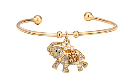 1 o 2 pulseras elefante de Philip Jones, chapados en oro de 18 quilates y adornados con cristales de Swarovski