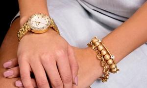 Steve Madden Women's Crystal Bezel White Dial Watch & Bracelet Set