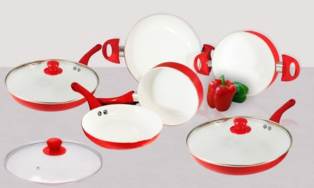 Batería de cerámica de 8 piezascon recubrimiento cerámico  por 39,99 € (60% de descuento)