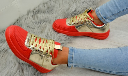 Womens Metallic Lace-Up Trainers