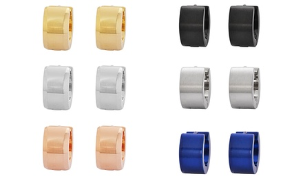 Men's Stainless Steel Huggie Earrings (3-Pack)