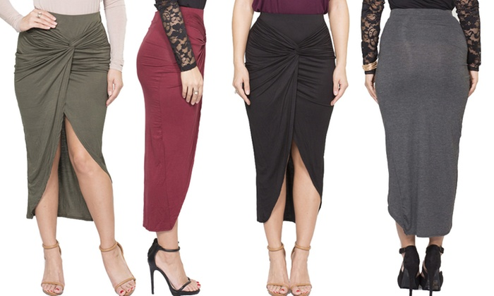 Women's Fitted Tulip Midi Skirt | Groupon