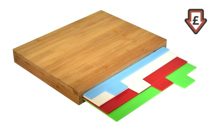 Set of Four Plastic Cutting Boards and One Bamboo Chopping Board