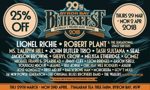 29th Annual Byron Bay Bluesfest: 29th Annual Byron Bay Bluesfest, 29 March - 2 April 2018, 25% Off Tickets