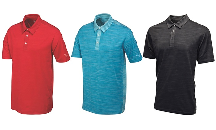 Puma Men's Heather Stripe Polo Cresting Golf Shirt