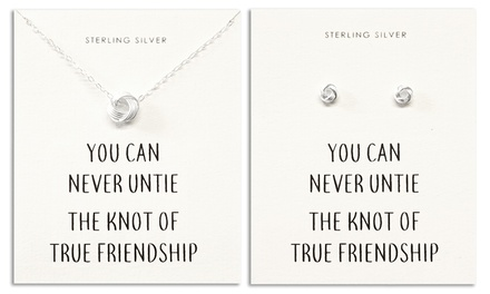 Philip Jones Sterling Silver Quote Earrings, Necklace or Set of Both